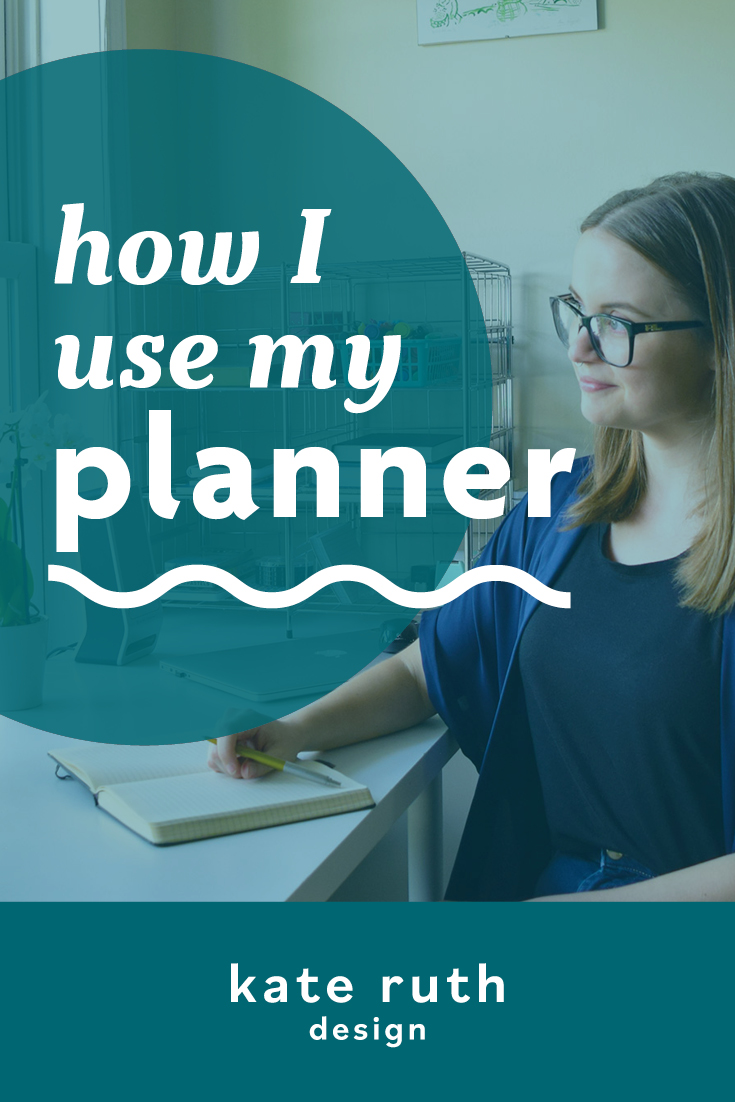 """Photo of Kate writing at her desk with the text """"how I use my planner"""""""