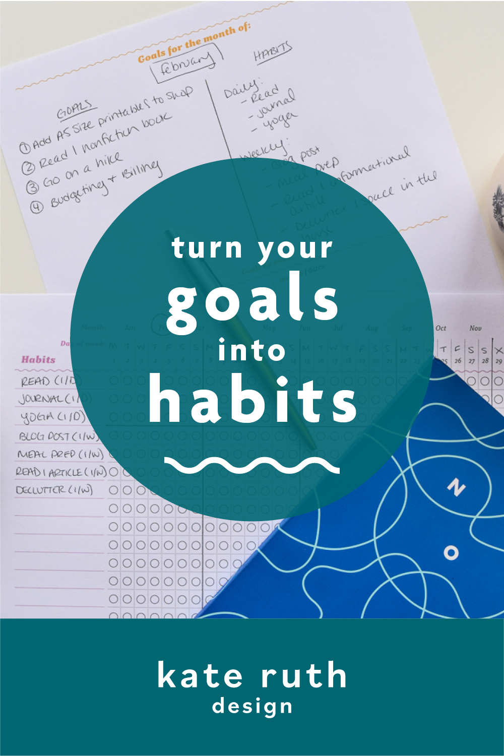 """photo of planner pages with text: """"turn your goals into habits"""""""